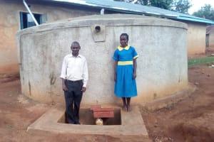The Water Project: Ematsuli Primary School -  Zablon Kube With Winfred Mudesia At The Tank
