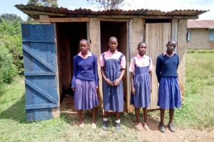 The Water Project: Friends Kaimosi Demonstration Primary School -  Girls At Their Latrines