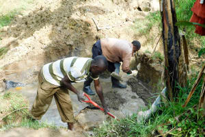 The Water Project: Chegulo Community, Werabunuka Spring -  Building The Foundation
