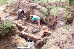 The Water Project: Ematetie Community, Chibusia Spring -  Construction