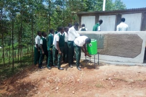 The Water Project: Kwirenyi Secondary School -  Handwashing Station And Latrines