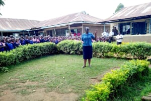 The Water Project: Friends Kaimosi Demonstration Primary School -  Our Staff Addressing The School About The Project