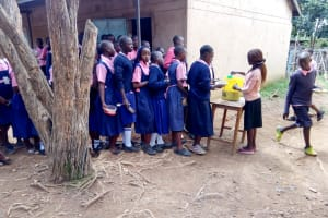 The Water Project: Friends Kaimosi Demonstration Primary School -  Lined Up For Lunch