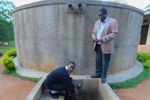 The Water Project: Bumira Secondary School -  Elizabeth Koome And Principal Rocken Ilahalwa