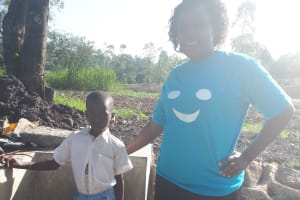 The Water Project: Mwiyala Community, Benard Spring -  Hesbone Namalo And Field Officer Karen Maruti
