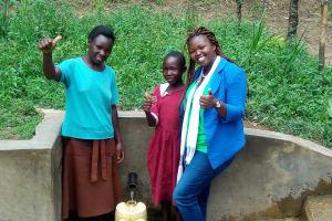 The Water Project: Mungulu Community, Zikhungu Spring -  Abigael Kasiti Pamela Atieno And Field Officer Jacklyne Chelagat