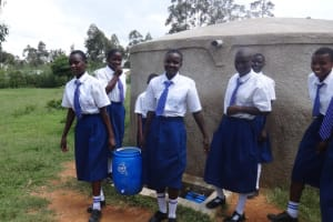 The Water Project: Matete Girls High School -  Students Fill Handwashing Station With Water