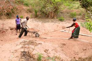 The Water Project: Syatu Community -  Sand Dam Construction