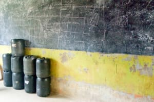 The Water Project: Kaimosi Demonstration Secondary School -  Water Stored In Classroom
