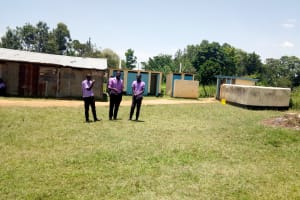 The Water Project: Namanja Secondary School -  Students In Front Of Latrines