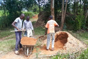The Water Project: Luyeshe Community, Matolo Spring -  Delivering Sand To The Site