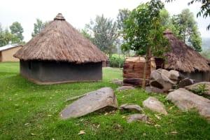 The Water Project: Bukhakunga Community, Khayati Spring -  Mud And Grass Homes