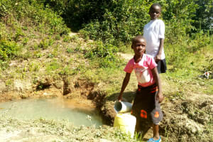 The Water Project: Mukoko Community, Mshimuli Spring -  Fetching Dirty Water