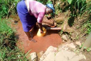 The Water Project: Mukangu Community, Lihungu Spring -  Fetching Water