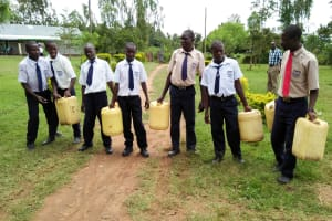 The Water Project: Imanga Secondary School -  Boys With Water From The Well