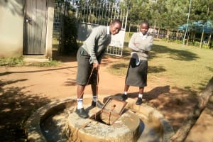 The Water Project: Ebubere Mixed Secondary School -  Fetching Water