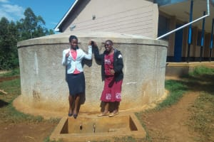 The Water Project: El'longo Secondary School -  Margaret Egesa And Field Officer Janet Kayi