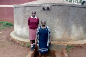 The Water Project: Lureko Girls Secondary School -  Ashley Achieng And Josephine Omamo At The Tank