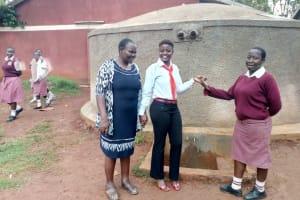 The Water Project: Lureko Girls Secondary School -  Josephine Omamo Field Officer Jemmimah Khasoha And Ashley Achieng