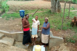The Water Project: Shitoto Community, William Manga Spring -  Thumbs Up For Reliable Water
