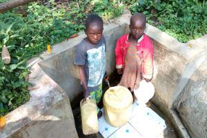 The Water Project: Shitoto Community, Laurence Spring -  Brian Murunga And His Sister Fetch Water