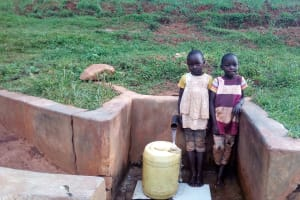 The Water Project: Simuli Community, Lihala Sifoto Spring -  Rebecca Asiko And Her Friend At The Spring