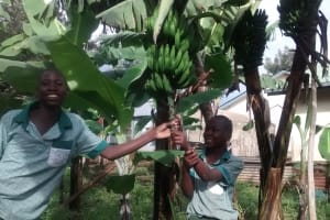 The Water Project: Ebusiratsi Special Primary School -  Dan And Martin At The School Garden Where Banana Is Watered Using The Tank Water