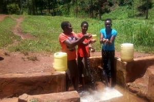The Water Project: Mudete Community, Wadimbu Spring -  Catherine Egehiza Beverlyne Akadanya And Field Officer Lillian Achieng