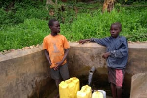 The Water Project: Katugo I-Alu Community -  Boys Collect Water From The Spring