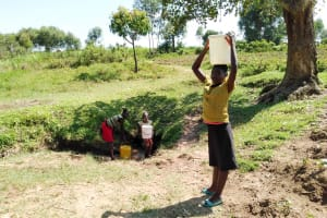 The Water Project: Sambuli Community, Nechesa Spring -  Carrying Water