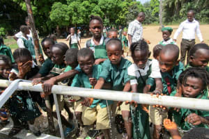 The Water Project: DEC Komrabai Primary School -  Handwashing Station Connected To Well