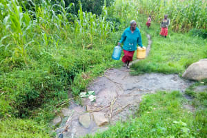 The Water Project: Bukhaywa Community, Asumani Spring -  Coming To Fetch Water At The Spring