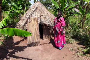 The Water Project: Karagalya Kawanga Community -  Kandole Irene Outside Her Latrine