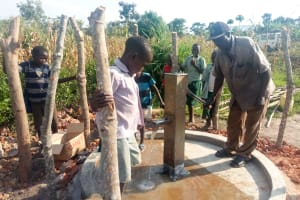 The Water Project: Alimugonza Community B -  Water Flowing