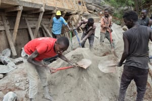 The Water Project: Kyetonye Community -  Community Members Contribute To The Construction