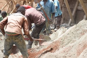 The Water Project: Kyetonye Community -  Shoveling