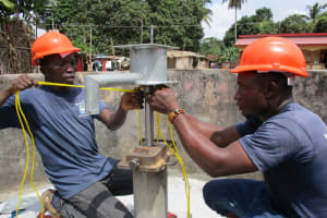 The Water Project: Lungi Town, 112 Alimamy Seray Modu Road -  Pump Installation