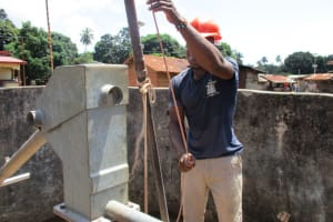 The Water Project: Lungi Town, 112 Alimamy Seray Modu Road -  Working On The Well