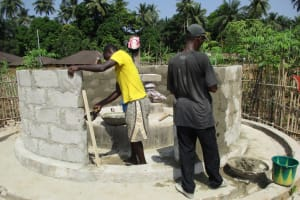 The Water Project: Mapitheri, Port Loko Road -  Completing The Well Pad