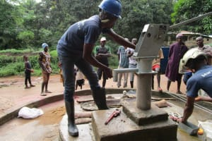 The Water Project: Mondor Community -  Pump Nearly Installed