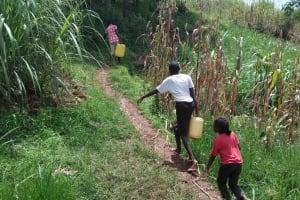 The Water Project: Shihungu Community, Shihungu Spring -  Carrying Water