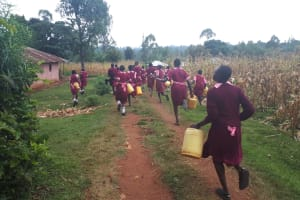 The Water Project: Kitumba Primary School -  Going To Fetch Water