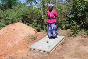 The Water Project: Ivinzo Commuity, Mushianda Spring -  A Finished Latrine Platform