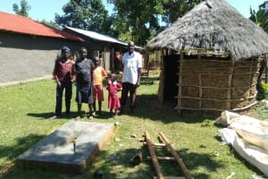 The Water Project: Lunyi Community, Fedha Mukhwana Spring -  Finished Latrine Floor