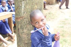 The Water Project: Shihimba Primary School -  A Girl With Her New Toothbrush And Toothpaste