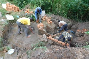 The Water Project: Koloch Community, Solomon Pendi Spring -  Spring Construction