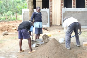 The Water Project: Shihimba Primary School -  Students Helping With Construction