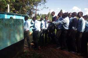 The Water Project: Immaculate Heart Secondary School -  Boys Lined Up At Latrines