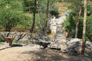 The Water Project: Kithumba Community B -  Sand Dam Progress
