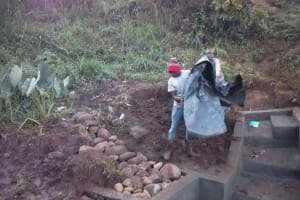 The Water Project: Shitoto Community, Mashirobe Spring -  Protecting Behind The Discharge Pipe